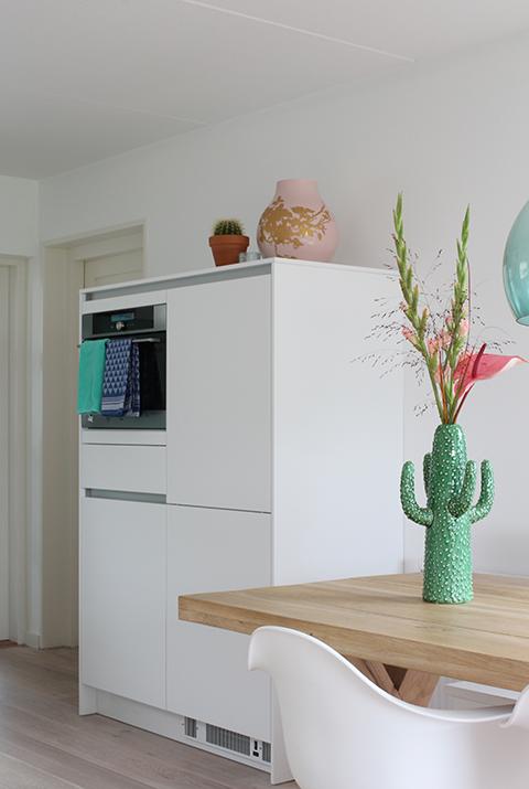 witte keuken cactus vaas