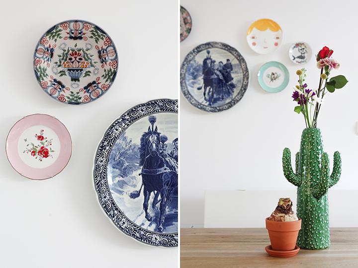 Delfts Blauw en modern aan de muur