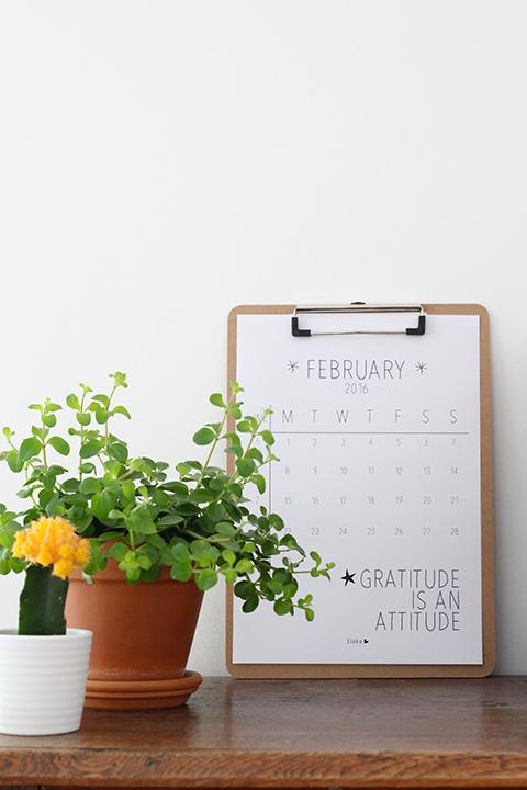 februari 2016 kalender
