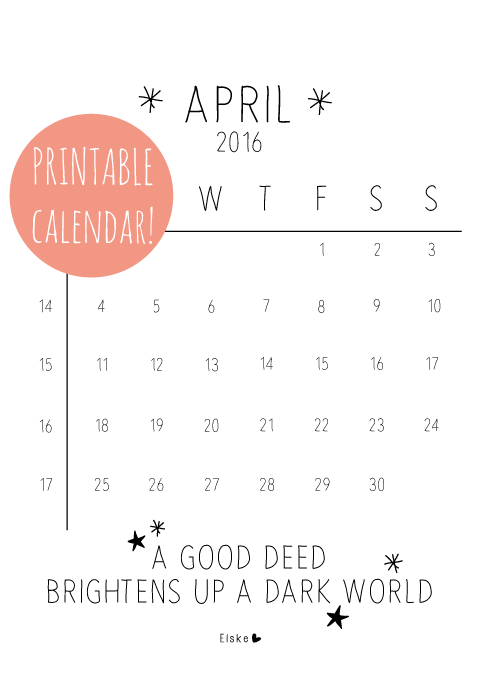 Elske printable kalender april 2016