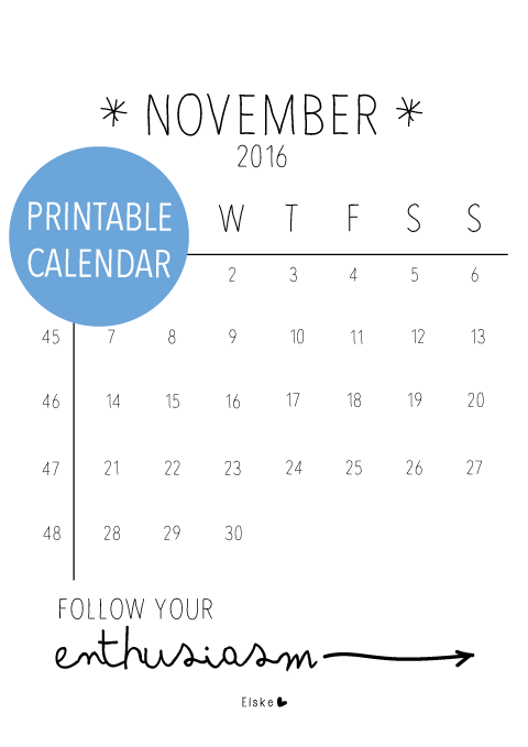 Printbare kalender november 2016