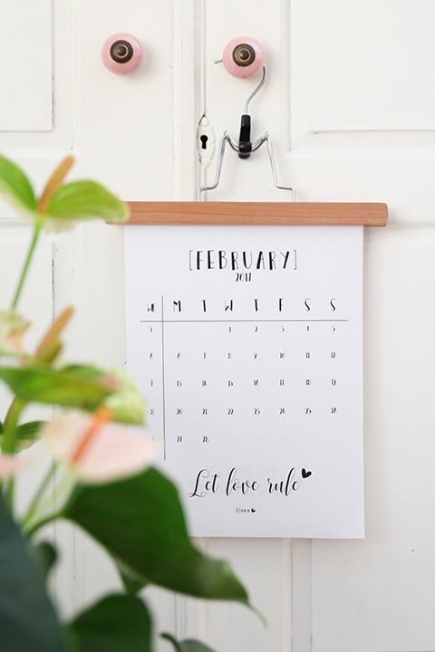 Februari 2017 - printable kalender